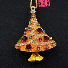 Betsey Johnson Gold Rhinestone Enamel Christmas Trees Pendant Chain Necklace