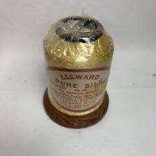 Vintage Leeward PURE SILK CROCHET TATTING THREAD  Yellow White, 60 yards, NOS