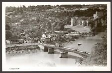 More details for chepstow, monmouthshire. super view across the wye. bus crossing the bridge rppc