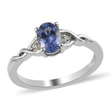 925 Sterling Silver Blue Tanzanite Zircon Ring Platinum Over Gift Size 5 Ct 0.7