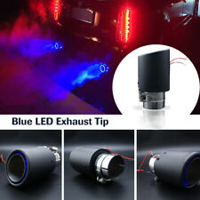 1PC Car Blue LED Exhaust Tip Muffler Pipe Carbon Fiber 63mm Inlet Fire-breathing