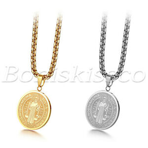 """Men's Stainless Steel Saint St. Benedict Oval Medal Pendant Necklace Chain 22"""""""
