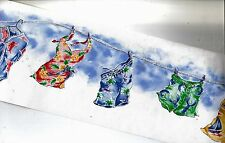 BEACH CLOTHES ON LAUNDRY LINE WALLPAPER  BORDER 7372717