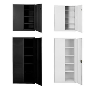 Steel Filing Cabinet Office Metal Frame Storage Lockers 3/4/5 Tier Lockable Door