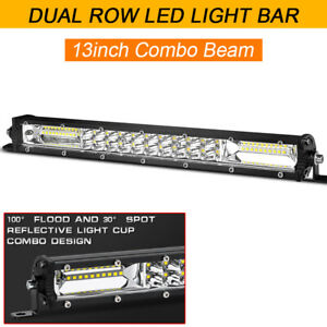 Slim Dual Row 13in LED Work Light Bar Flood Spot Combo Offroad Truck SUV Driving