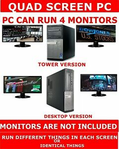 DELL i3 QUAD CORE COMPUTER PC 180GB SSD 4 MONITORS QUAD SCREEN STOCK TRADING