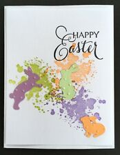 Handmade Playful Easter Bunnies Greeting Card, Easter Bunny Card