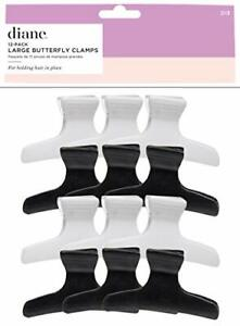 Large butterfly clamps, black and white, 12 pack, D13 12 PK Large