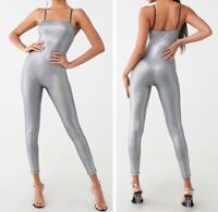Metallic Sexy Shiny Shimmer Iridescent Silver Sleeveless Jumpsuit Catsuit S NEW