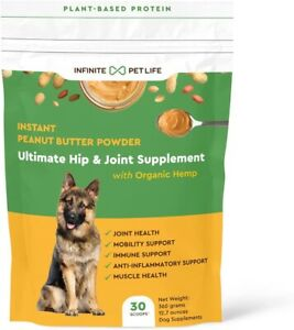Infinite Pet Life Peanut Butter Powder for Dogs 12.7oz Hip Joint Health USA Made
