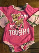 "*BUCK WEAR* Girls Pink Camouflage ""Tiny But Tough"" Fawn Creeper Bodysuit Size 6M"
