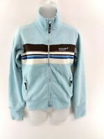 SUPERDRY Womens Tracksuit Top Track Jacket S Small Blue Brown Cotton & Polyester