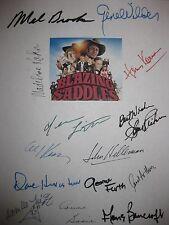 Blazing Saddles Signed Script X14 Mel Brooks Gene Wilder Cleavon Little Kahn RPT