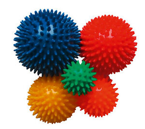 Igelball Massageball Noppenball 5er-Set (grün, orange, gelb, rot und blau)