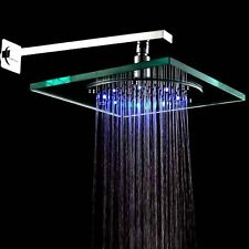 8 Inch Wall Mount Square Rainfall Showerhead with Build-in LED Light, Glass ED