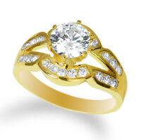 Ladies 14K Yellow Gold Plated Fashion Solitaire Ring with CZ Size 4-10