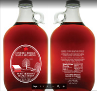 (1) half gallon glass jug of Pure Vt. Maple syrup