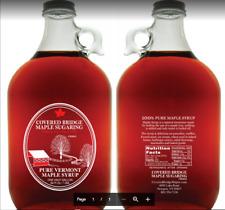 (1) half gallon glass jug of Pure Vt. Maple syrup