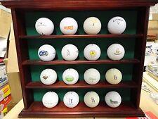 Walnut GOLF BALL Display Case w/12 Different Logo Golf Balls Titleist Callaway