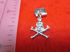 14kt  WHITE GOLD EP SKULL AND CROSS BONES  DANGLE 9mm ITALIAN CHARM -iA85