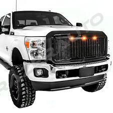 11-16 Ford Super Duty Raptor Gloss Black Mesh Grille+Shell+Amber 3x LED light