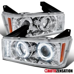 For 2004-2012 Chevy Colorado GMC Canyon LED Halo Projector Headlights Left+Right