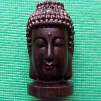 Giapponese Legno Intagliato a Mano Treen Duro Netsuke Bhuddist Bhudda Testa