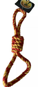 Figure Of 8 Red /Yellow Fetch Throw Tug Chew Strong Tough Durable Rope Dog Toy