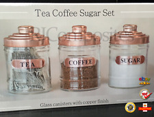 NEW Set Of Three Tea Coffee And Sugar Canisters Copper
