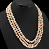 EXCLUSIVE 440.00 CTS NATURAL 3 STRAND ORANGE AVENTURINE BEADS NECKLACE (RS)