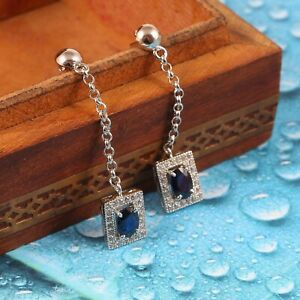 Natural Blue Sapphire Long Dangle Earrings Halo Statement 925 Sterling Silver