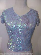 Designer Party Formal Dance Bridal Cruise Bodycon Blue Crochet Sequin Top S