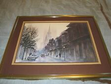"Jim Gray, city/street scene, signed framed & custom matted 24x30"" art print"