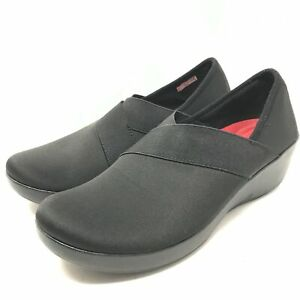 Crocs Womens Busy Day Wedge Shoes Size 9 Black Slip On Stretch Walking Workwear