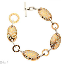 Rebecca Jewelry, St  Barth Cream Color Enamel Filigree Two-Tone Bracelet, 6.5""