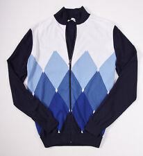 NWT $595 BALLANTYNE Blue Argyle Full-Zip Bomber Sweater 50/M Extrafine Cotton