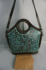 Authentic Patricia Nash Tooled Turquoise Moretto Leather Tote---NWT $229