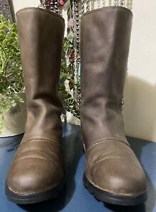 Sorel Women's Sz 8.5 Brown Emelie Boots Mid Calf Leather Weatherproof Snow Rain