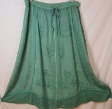 Jewel Queen Size S Green Floral Embroidery Lace Boho Women's Skirt