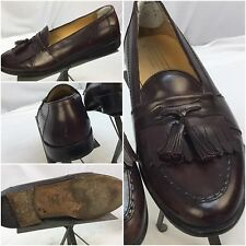 Johnston Murphy Cellini Dress Shoes 10.5 Burgundy Loafer Made In Italy YGI B7-5