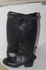ASH Black Leather Tall Biker Boots Womens Handmade Sz 36