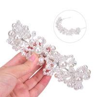 Bridal Wedding Headband Crystal Flower Tiara Crown Pearl Rhinestone Hair Band LY