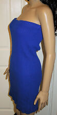 Contempo Casual Royal Blue Ribbed Sweater Dress Size Small 100% Acrylic Vintage?
