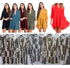 Womens Plunged Snake Print Frill Hem Shift Skater Shirt Dress Party Top 16-26