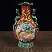 Chinese old porcelain vase with dragon and Phoenix ears in pastel relief vase