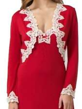 Ladies Bright Red Short Robe Wrap Gown Size 14 - 16 Long Sleeves Ivory lace trim