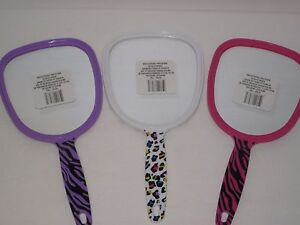 Girls Handheld Vanity Mirror - Tiger Animal Print, Pink, Purple Princess Parties