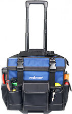 Rolling Tool Bag Tote With Pop Up Handle Wheels 15-inch Construction Heavy Duty