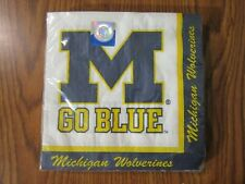 MICHIGAN WOLVERINES LUNCHEON NAPKINS 20 CT NEW PARTY CREATIVE CONVERTING NCAA