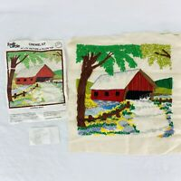 Vintage Covered Bridge Finished Crewel Embroidery Kit 1974 Family Circle 14 x 14